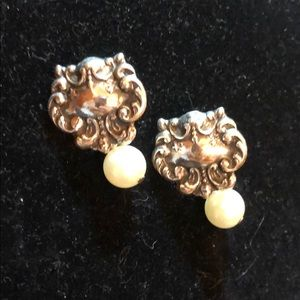 T Foree sterling silver and pearl earring